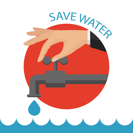 Turn off the water with mans hand isolated on background Vector flat illustration.