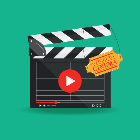 Vector illustration in flat style.Clapperboard isolated on background. Video movie clapper equipment, icon.