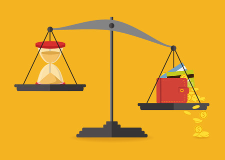 Money and time balance on the scale. Business concept  vector illustration.