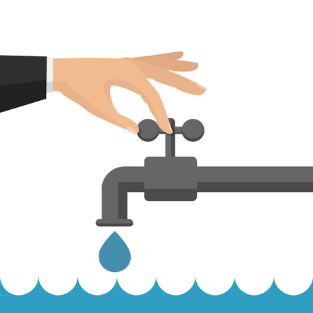 Vector flat illustration. Turn off the water with man's hand isolated on background