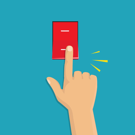 Interruptor de palanca. Concepto de control eléctrico. Diseño gráfico de vector. Icono isométrico. Mano girando la luz