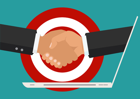 Vector business partnership illustration. Handshake. Symbol of success deal, happy business partnership, agreement. Flat design isolated on background