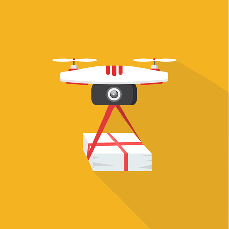 The concept of fast, free delivery, gift. Vector illustration. Drone delivers the parcel. Illustration