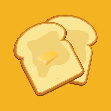 Flat design style. Vector illustration. Breakfast concept toast. Slices of toast