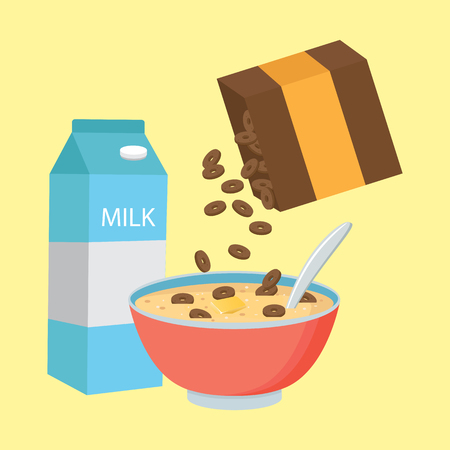Vector illustration cereal bowl with milk, smoothie isolated on white background. Concept of healthy and wholesome breakfast.