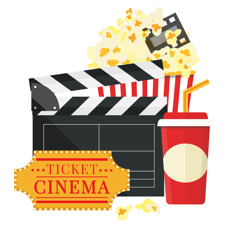Popcorn and drink film strip border. Cinema movie night icon in flat design style. Bright background. Vector illustration.