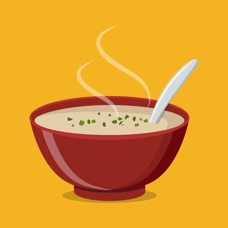 Hot bowl of soup, dish isolated icon. Soup with vegetables isolated on white background vector illustration.