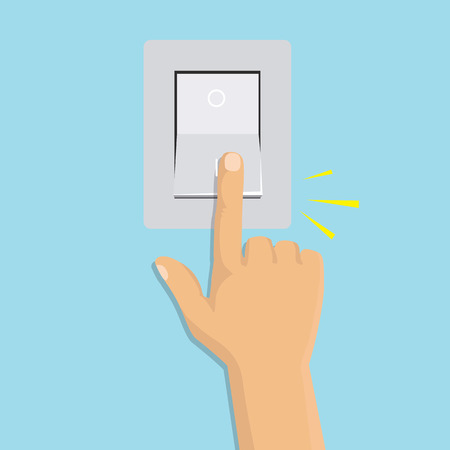 Toggle switch electric control concept. Vector graphic design isometric icon hand turning on the light.