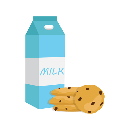 Vector illustration of glass of milk and cookies,  breakfast concept. Illustration
