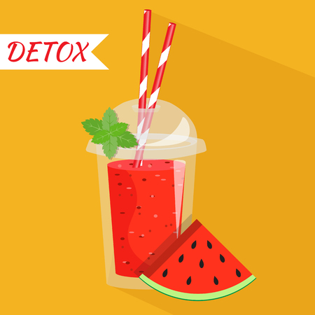 Smoothie with different flavors, take away. Healthy fresh juice fresh. Cartoon smoothie in a transparent plastic glass vector illustration.