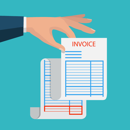 Hand holding blank of receipt vector illustration isolated on background.