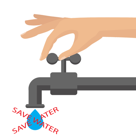 Vector flat illustration. Turn off the water with mans hand isolated on background