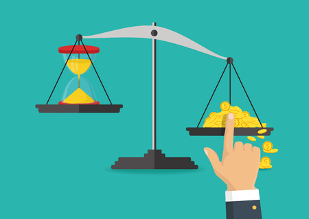 Money and time balance on the scale, business concept vector illustration.