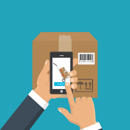 Vector illustration hand holding a phone, calling in service delivery. Concept of free, fast delivery, shipping. Illustration