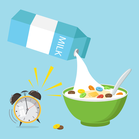 Vector illustration. Cereal bowl with milk, smoothie isolated on white background. Concept of healthy and wholesome breakfast.  Ilustracja