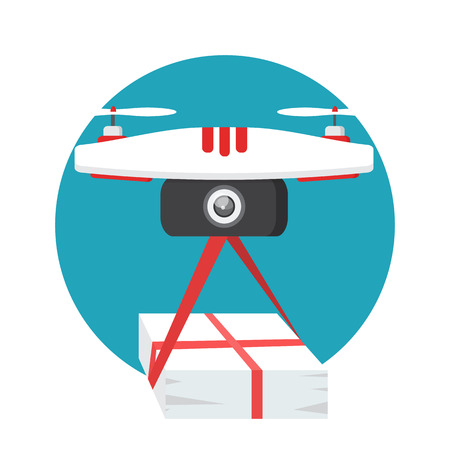 The concept of fast, free delivery, gift. Vector illustration. Dron delivers the parcel.  Illustration