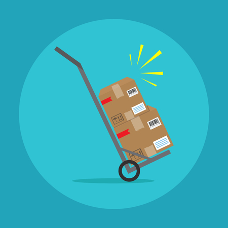 Vector icon. Packages delivery with trolley Illustration