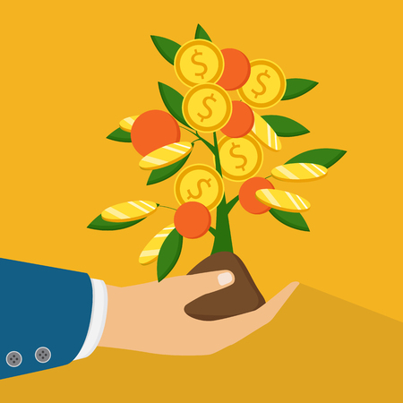 The concept of earnings, success in work, money. The hand of a businessman who pours a money tree.
