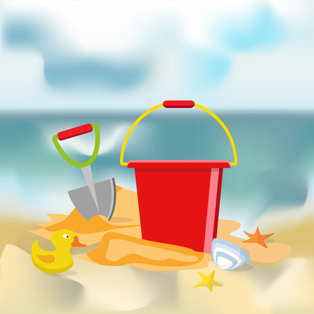 Summer time flat design. Vector. Beach toys isolated. Pail, shovel, starfish, bucket, duckling, shell, sand.