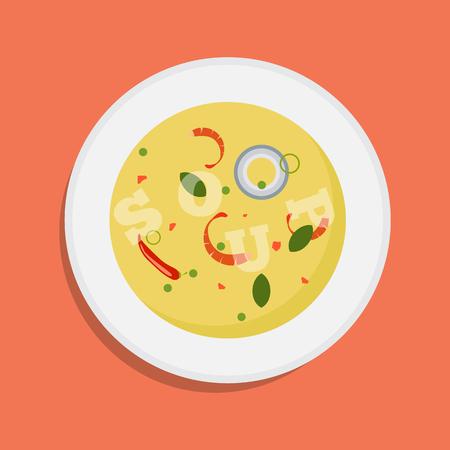 Tazón de fuente caliente de sopa, icono aislado plato. Sopa con las verduras aisladas en el fondo blanco. Foto de archivo - 94708552