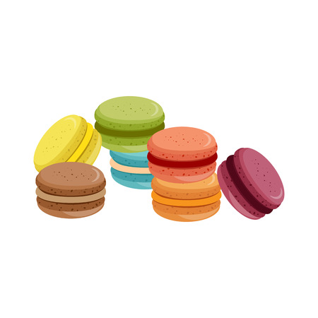 Bakery. Vector illustration. Sweets, macaroons of different taste.  Illustration