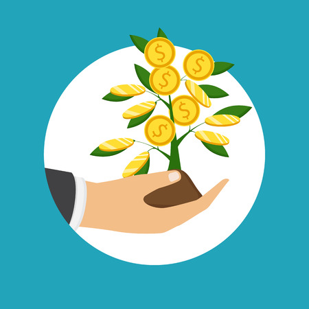 The concept of earnings, success in work, money. Vector illustration. The hand of a businessman who pours a money tree.  Illustration