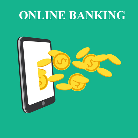 Concept for mobile banking and online payment. Vector flat illustration. Flat cartoon style. Send money via smartphone