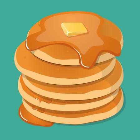 Fresh tasty hot pancakes with sweet maple syrup. Cartoon icon isolated on background. Vintage restaurant sign. Illustration