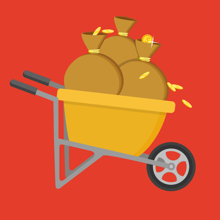 Cartoon vector flat style illustration. Wheelbarrow full of coins and soil