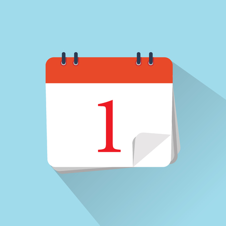 The 1st of the mounth. Vector illustration. Flat icon of calendar isolated on a background.  向量圖像