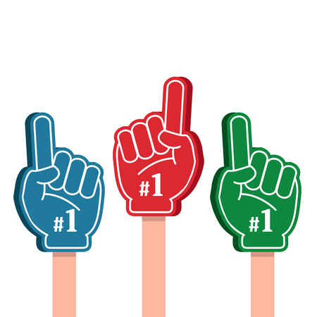 Bright colorful foam fingers set. Number one and the best. Vector illustration