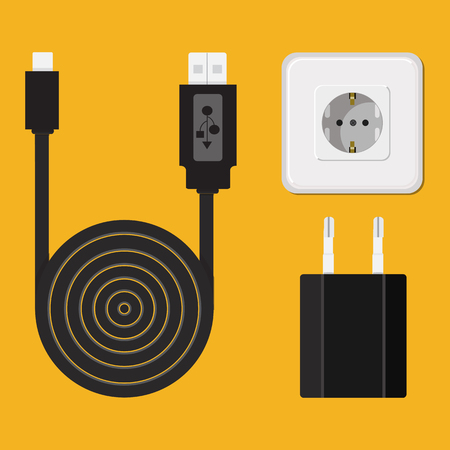 Icon. Vector. Charger, cable, wire for phone with micro USB connector. Stock Illustratie