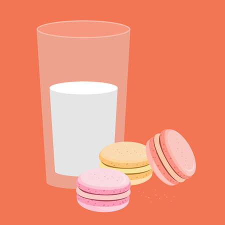 Bakery. Vector illustration. Sweets, macaroons of different taste.  Illusztráció