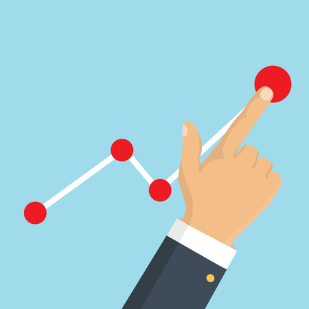 Vector illustration. Businessman hand with arrow graph up higher.