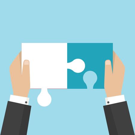 Four businessman connecting puzzle. Vector. Business teamwork concept.  Ilustração