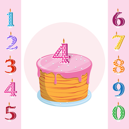 A set for a birthday party. Happy birthday cake with candles numbers for each year. Vector illustration Illustration
