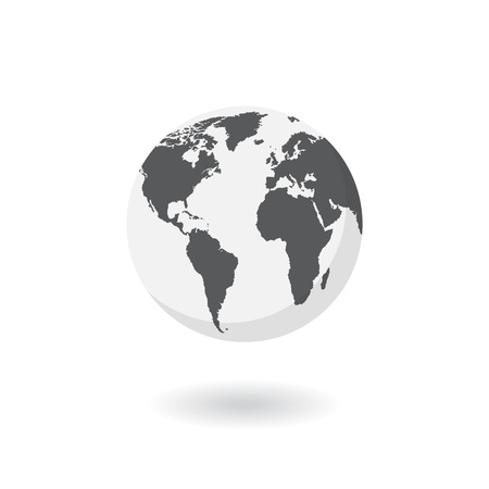 Earth, globe icon. Vector. World map isolated on white background.