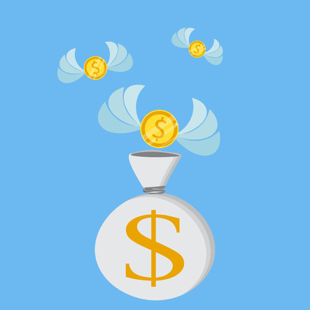 Flat icon, vector illustration. Money saving and money bag concept. Money making. Bank deposit. Financials. Isolated on a background. Illustration