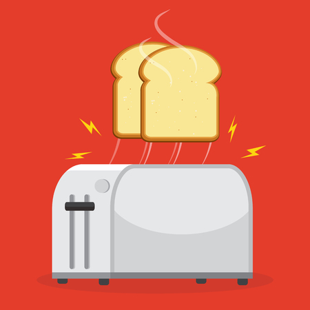 Isolated on background. Vector illustration. Good morning concept. Toaster and bread toasts. Vettoriali