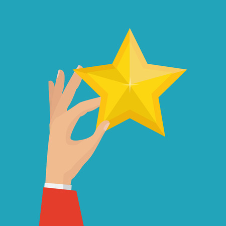 Hand holds golden star. Vector illustration Illustration