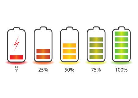 Batterie de smartphone déchargée et entièrement chargée. Smartphone avec indicateurs de niveau de charge de batterie isolé sur fond. Illustration vectorielle