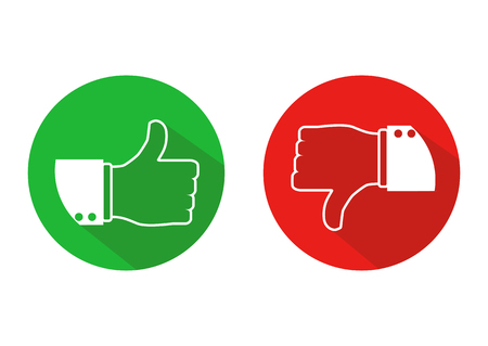 Thumb up and down icons. Like and dislike concept. Vector illustration.
