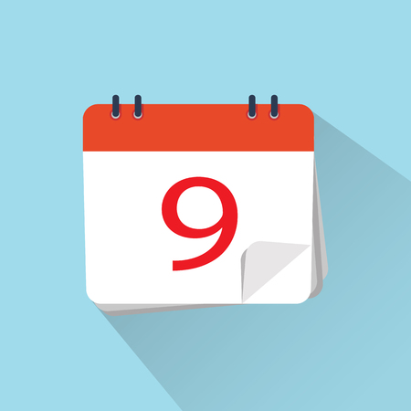 The 9th of the mounth. Vector illustration. Flat icon of calendar isolated on a background.