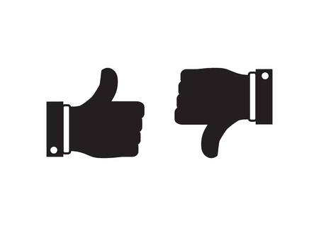 Like and dislike concept. Vector illustration. Thumb up and down icons.