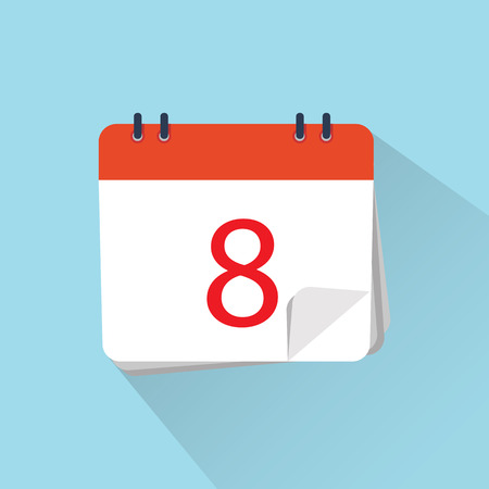 The 1st of the mounth. Vector illustration. Flat icon of calendar isolated on a background.  Illustration