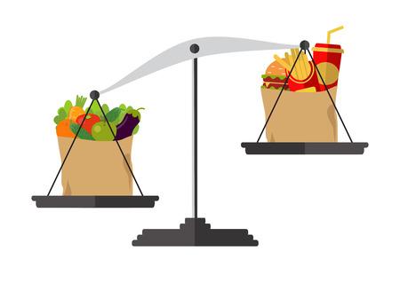 Légumes et restauration rapide sur des échelles. Vecteur. Concept de perte de poids, modes de vie sains, alimentation, bonne nutrition.