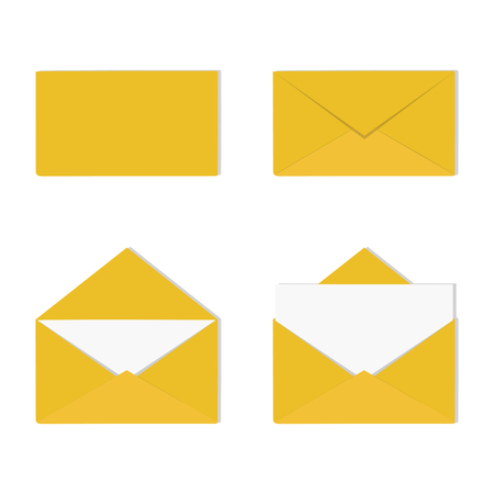 Correspondence, message concept. Vector illustration. A set of open and closed envelopes with letter. Illustration