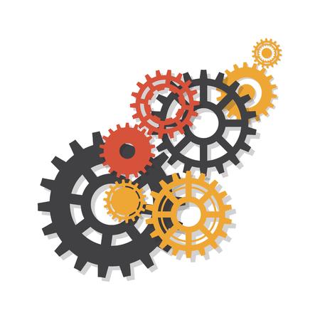 Fond de vecteur. Engrenages, gigognes et roues dentées, mécanisme de la machine.
