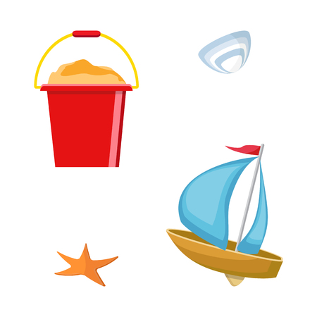 Beach toys isolated. Pail, shovel, starfish, bucket, duckling, shell, sand. Summer time flat design. Vector