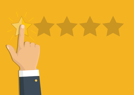 Customer review concept. Vector. Rating golden stars. Feedback, reputation and quality concept. Hand pointing, finger pointing to five star rating.  Illustration
